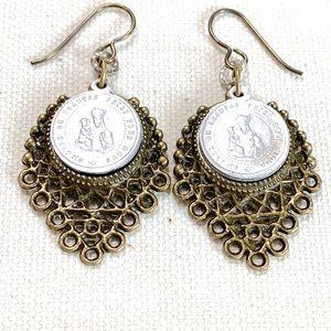 Catholic Medal Earrings Repurposed Reclaimed OOAK